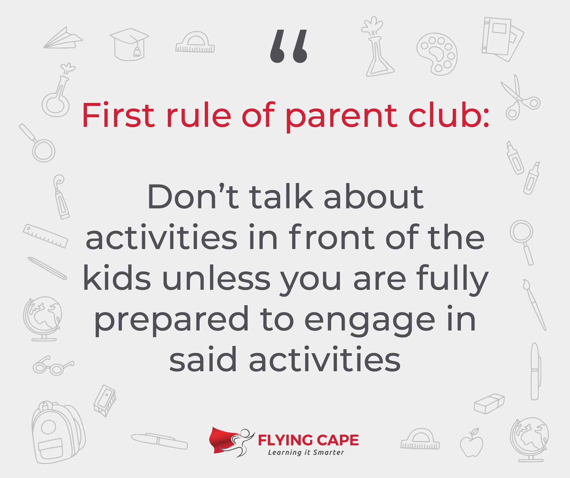 First rule of parent club